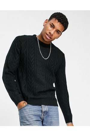 Another Influence Men Sweaters - Cable knit crew jumper in