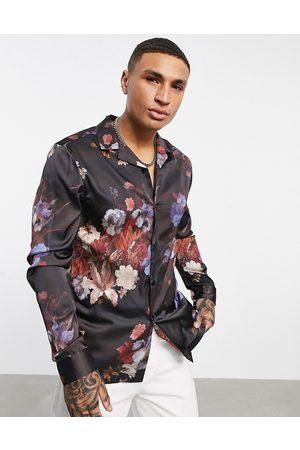 ASOS DESIGN Regular revere shirt with floral print in satin