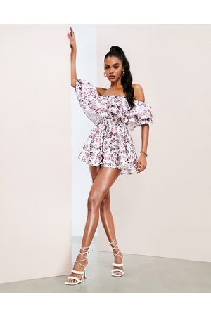 ASOS Women Jumpsuits - Bardot playsuit with ruffles in floral print