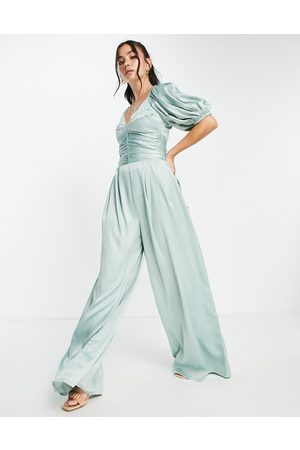 ASOS DESIGN Exaggerated sleeve satin jumpsuit in