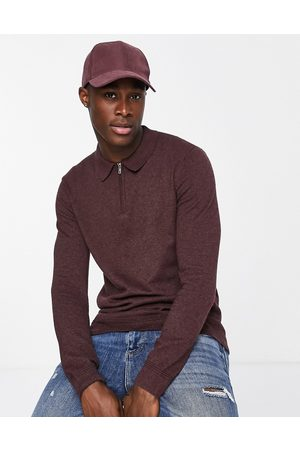 Topman Men Long Sleeve - Long-sleeved knitted zip polo in burgundy