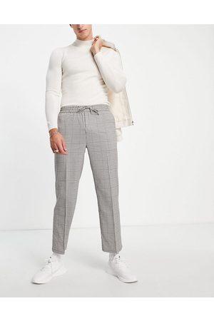 Topman Men Chinos - Wide leg crop check pupstooth pants-Neutral