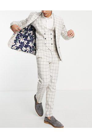Gianni Feraud Skinny fit cream windowpane suit pants-White