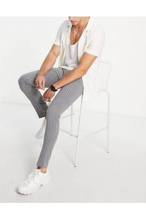 Bolongaro Trevor Men Formal Pants - Stripe seersucker skinny fit suit pants