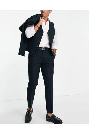 ASOS DESIGN Harris tweed slim suit pants in 100% wool in forest