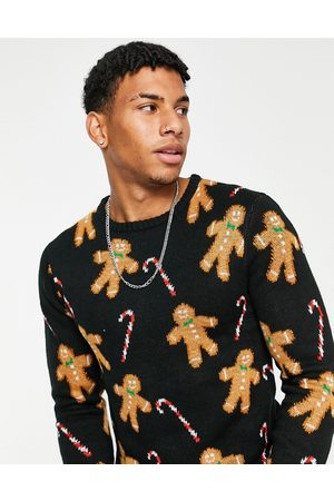Another Influence Festive gingerbread print jumper in