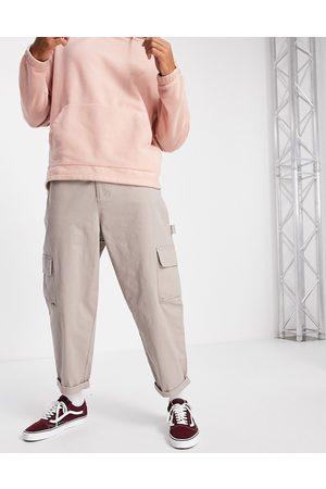 ASOS DESIGN Men Chinos - Carpenter wide leg pants in beige-Neutral