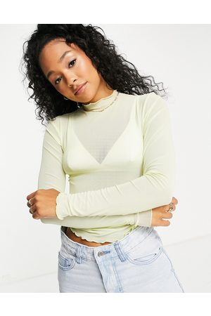 Pieces Magda mesh top in faded mint-White