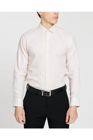 Calvin Klein Slim Fit Cotton Houndstooth Shirt - Shirts & Polos (Neutral) Slim Fit Cotton Houndstooth Shirt