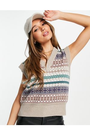 Y.A.S Women Gilets - Printed knitted vest in -Neutral