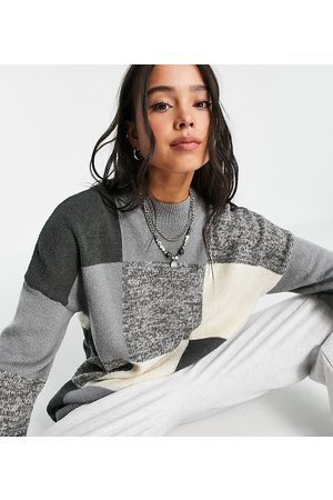 Collusion Unisex knitted colour block jumper in tonal grey
