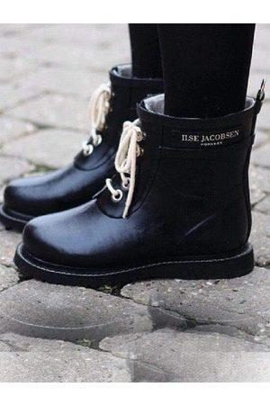 Ilse Jacobsen Short Rubber Lace Up Wellington Boots RUB 2 01