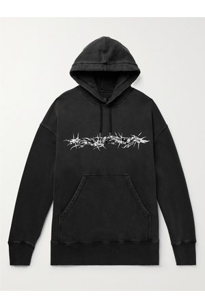 Givenchy Men Hoodies - Logo-Flocked Printed Cotton-Jersey Hoodie