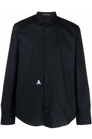 Philipp Plein Embroidered-skull button-up shirt