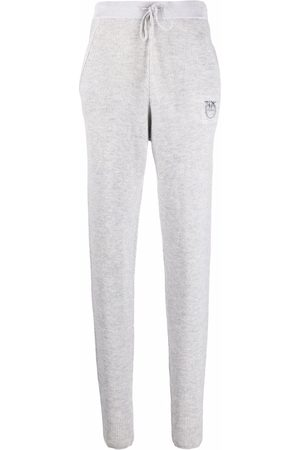 Pinko Embroidered-logo tapered track pants