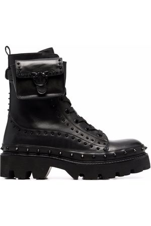 Pinko Pouch-detail studded combat boots