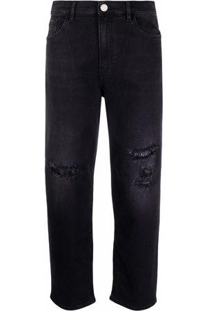 Pinko Women Straight - Distressed-effect straight-leg jeans