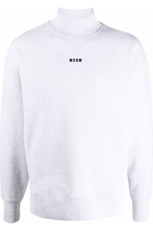 Msgm Men Sweatshirts - Logo-print mock-neck sweatshirt