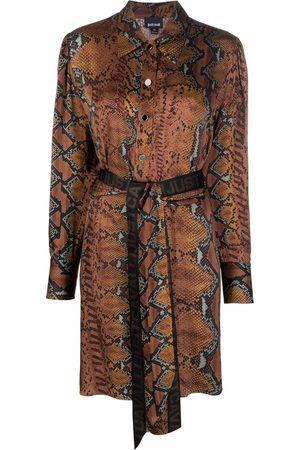 Just Cavalli Snake-pattern logo belt dress