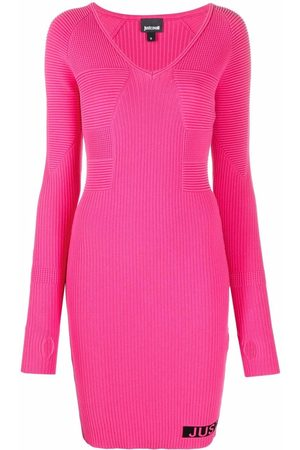 Just Cavalli Ribbed knit intarsia-logo dress