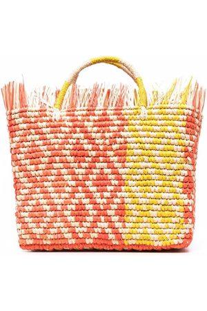 SENSI STUDIO Fringed straw tote bag