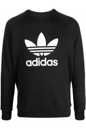adidas Trefoil-print crew neck sweatshirt