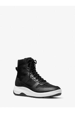 Michael Kors Mens MK Asher Logo Jacquard and Leather Boot - - Michael Kors