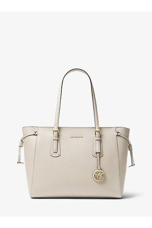 MICHAEL Michael Kors Women Handbags - MK Voyager Medium Crossgrain Leather Tote Bag - Lt Cream - Michael Kors