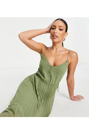 ASOS Tall ASOS DESIGN Tall button-front pleated cami midi dress with drawstring waist in -Green