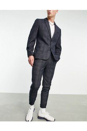 ASOS DESIGN Tapered suit pants with cuff in check