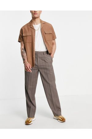 ASOS DESIGN Wide leg smart pants in prince of wales check