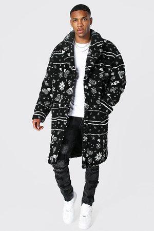 Boohoo Men Gilets - Mens Ecru Bandana Longline Borg Coat