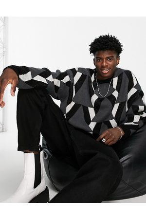 ASOS DESIGN Oversized knit jumper with geo pattern