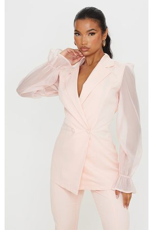 PrettyLittleThing Pale Woven Double Breasted Organza Sleeve Blazer