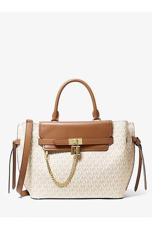 Michael Kors Women Handbags - MK Hamilton Legacy Large Logo Belted Satchel - Vanilla/acorn - Michael Kors