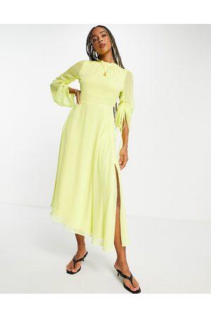 Topshop Women Evening Dresses - Tosphop long sleeve open back midi dress in