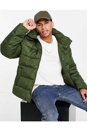 ASOS Men Winter Jackets - Recycled puffer jacket with detachable hood in -Green