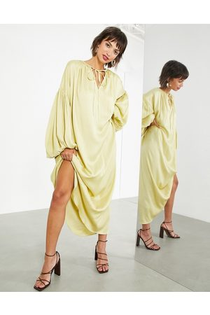 ASOS EDITION Women Maxi Dresses - Oversized maxi dress with blouson sleeve in -Green