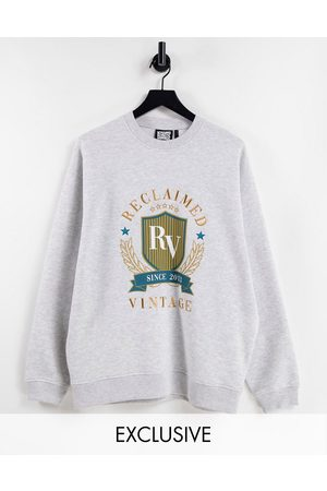 Reclaimed Vintage Inspired unisex oversized sweatshirt with varsity embroidery in grey marl