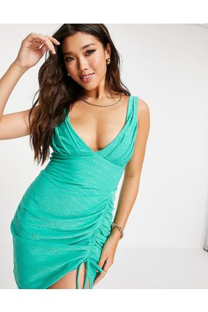 ASOS Broderie plunge side ruched mini dress in -Green