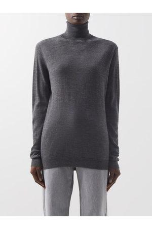 Raey Roll-neck Fine-knit Merino-wool Sweater - Womens - Charcoal