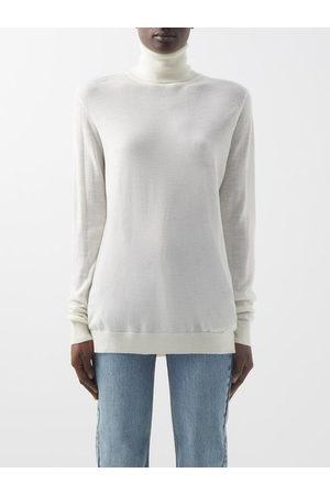 Raey Women Turtlenecks - Roll-neck Fine-knit Merino-wool Sweater - Womens - Ivory