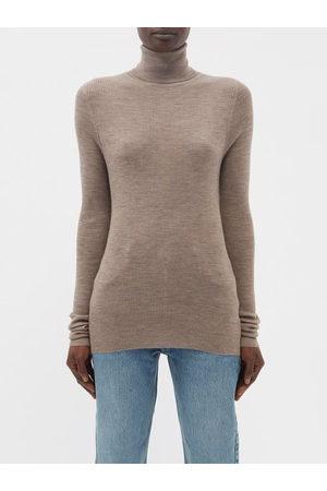 Raey Women Turtlenecks - Roll-neck Fine-rib Merino-wool Sweater - Womens - Light
