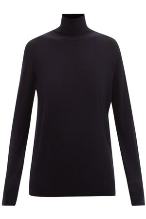 Raey Roll-neck Fine-knit Merino-wool Sweater - Womens - Navy