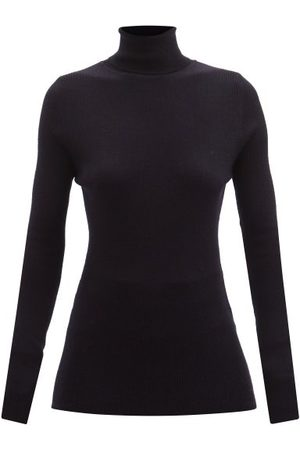 Raey Roll-neck Fine-rib Merino-wool Sweater - Womens - Navy