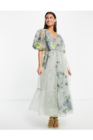 ASOS Women Party Dresses - Tiered wrap dress in embroidered organza-Grey