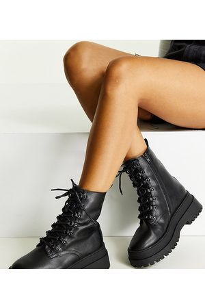 London Rebel Women Lace-up Boots - Wide fit lace up chunky boots in
