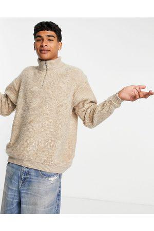 ASOS DESIGN Knitted plush half zip jumper in -Neutral