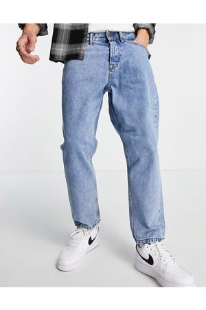 Only & Sons Men Tapered - Tapered fit cropped jeans in light vintage wash blue