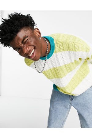 ASOS Oversized cable knit jumper with lime stripes-Green
